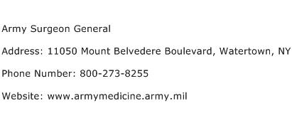 Army Surgeon General Address Contact Number