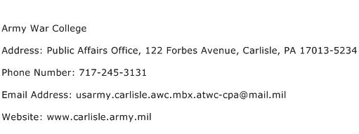 Army War College Address Contact Number
