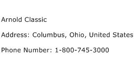 Arnold Classic Address Contact Number