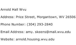 Arnold Hall Wvu Address Contact Number