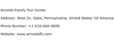Arnolds Family Fun Center Address Contact Number