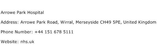 Arrowe Park Hospital Address Contact Number