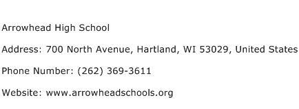 Arrowhead High School Address Contact Number