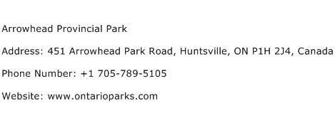 Arrowhead Provincial Park Address Contact Number