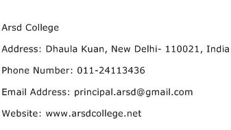 Arsd College Address Contact Number