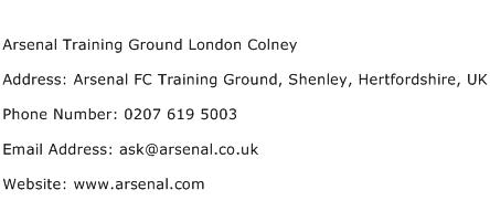 Arsenal Training Ground London Colney Address Contact Number