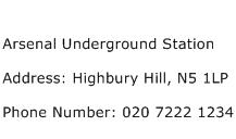 Arsenal Underground Station Address Contact Number