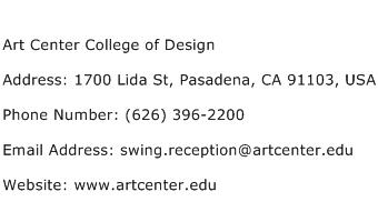Art Center College of Design Address Contact Number