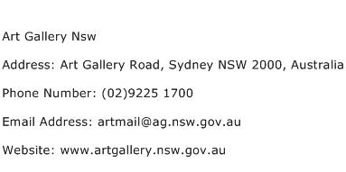 Art Gallery Nsw Address Contact Number