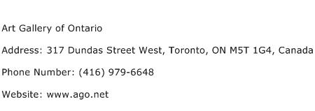 Art Gallery of Ontario Address Contact Number