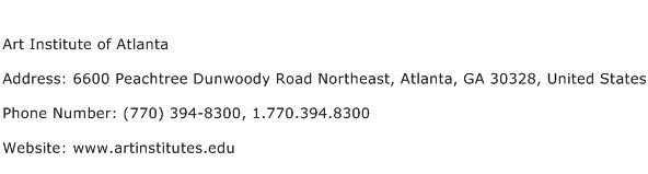 Art Institute of Atlanta Address Contact Number
