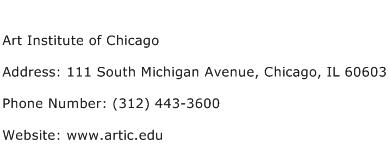 Art Institute of Chicago Address Contact Number