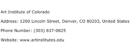 Art Institute of Colorado Address Contact Number