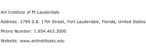 Art Institute of Ft Lauderdale Address Contact Number