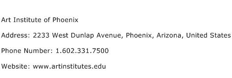 Art Institute of Phoenix Address Contact Number