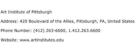 Art Institute of Pittsburgh Address Contact Number