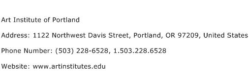 Art Institute of Portland Address Contact Number
