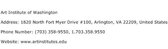 Art Institute of Washington Address Contact Number