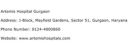 Artemis Hospital Gurgaon Address Contact Number