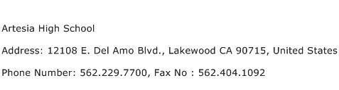 Artesia High School Address Contact Number