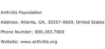 Arthritis Foundation Address Contact Number