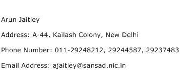 Arun Jaitley Address Contact Number