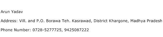 Arun Yadav Address Contact Number