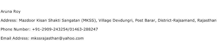 Aruna Roy Address Contact Number
