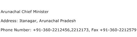 Arunachal Chief Minister Address Contact Number