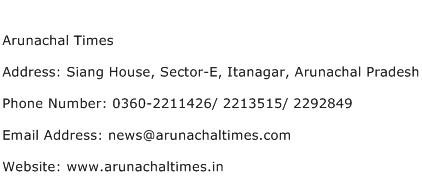 Arunachal Times Address Contact Number