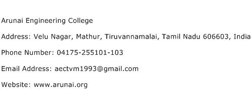Arunai Engineering College Address Contact Number