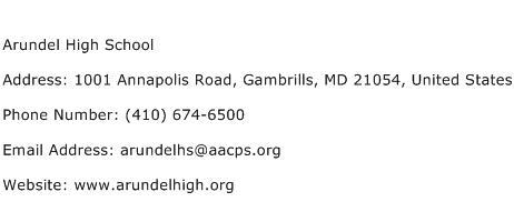 Arundel High School Address Contact Number