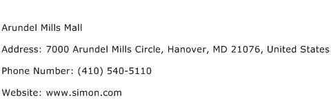 Arundel Mills Mall Address Contact Number
