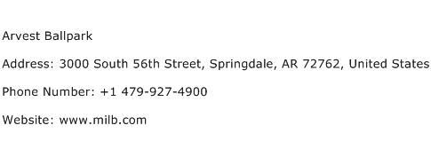 Arvest Ballpark Address Contact Number