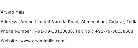 Arvind Mills Address Contact Number