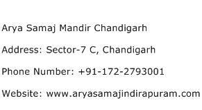 Arya Samaj Mandir Chandigarh Address Contact Number