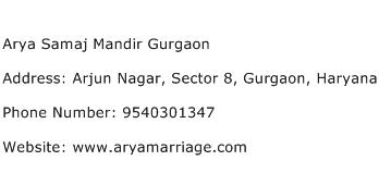 Arya Samaj Mandir Gurgaon Address Contact Number