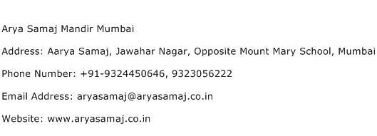 Arya Samaj Mandir Mumbai Address Contact Number