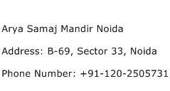 Arya Samaj Mandir Noida Address Contact Number