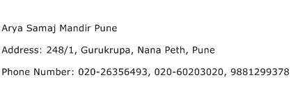Arya Samaj Mandir Pune Address Contact Number