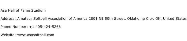 Asa Hall of Fame Stadium Address Contact Number