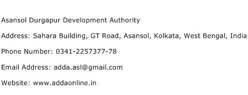 Asansol Durgapur Development Authority Address Contact Number
