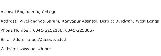 Asansol Engineering College Address Contact Number