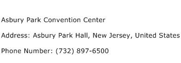 Asbury Park Convention Center Address Contact Number