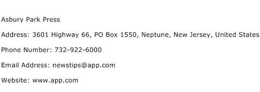 Asbury Park Press Address Contact Number
