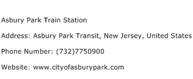 Asbury Park Train Station Address Contact Number