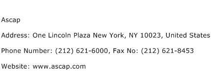 Ascap Address Contact Number