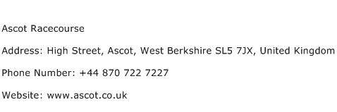 Ascot Racecourse Address Contact Number