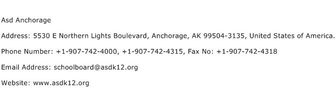 Asd Anchorage Address Contact Number