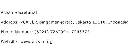Asean Secretariat Address Contact Number